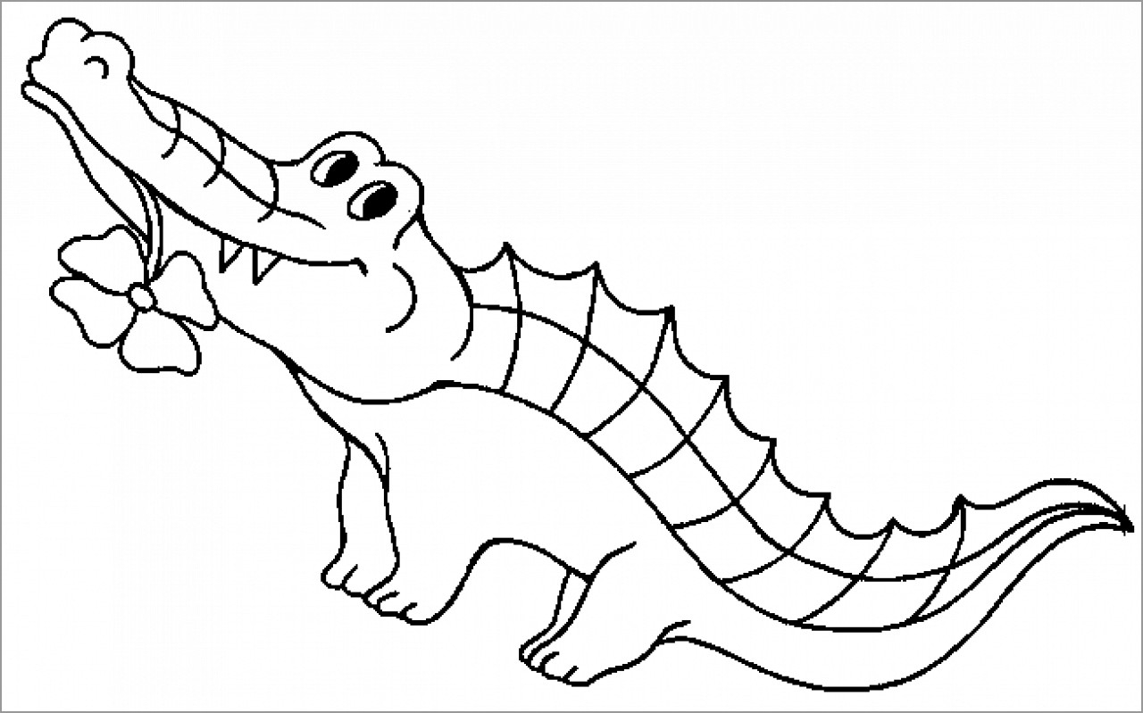 Coloring Page Alligator Cartoon Alligator Coloring Page Coloringbay