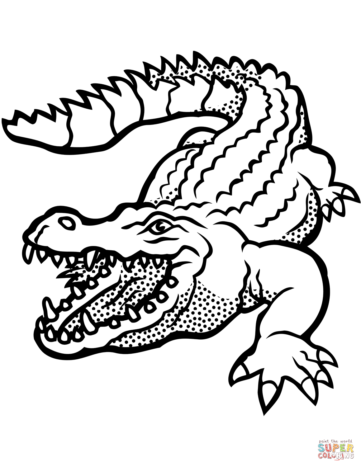 Coloring Page Alligator Crocodile With Open Mouth Coloring Page Free Printable Coloring Pages