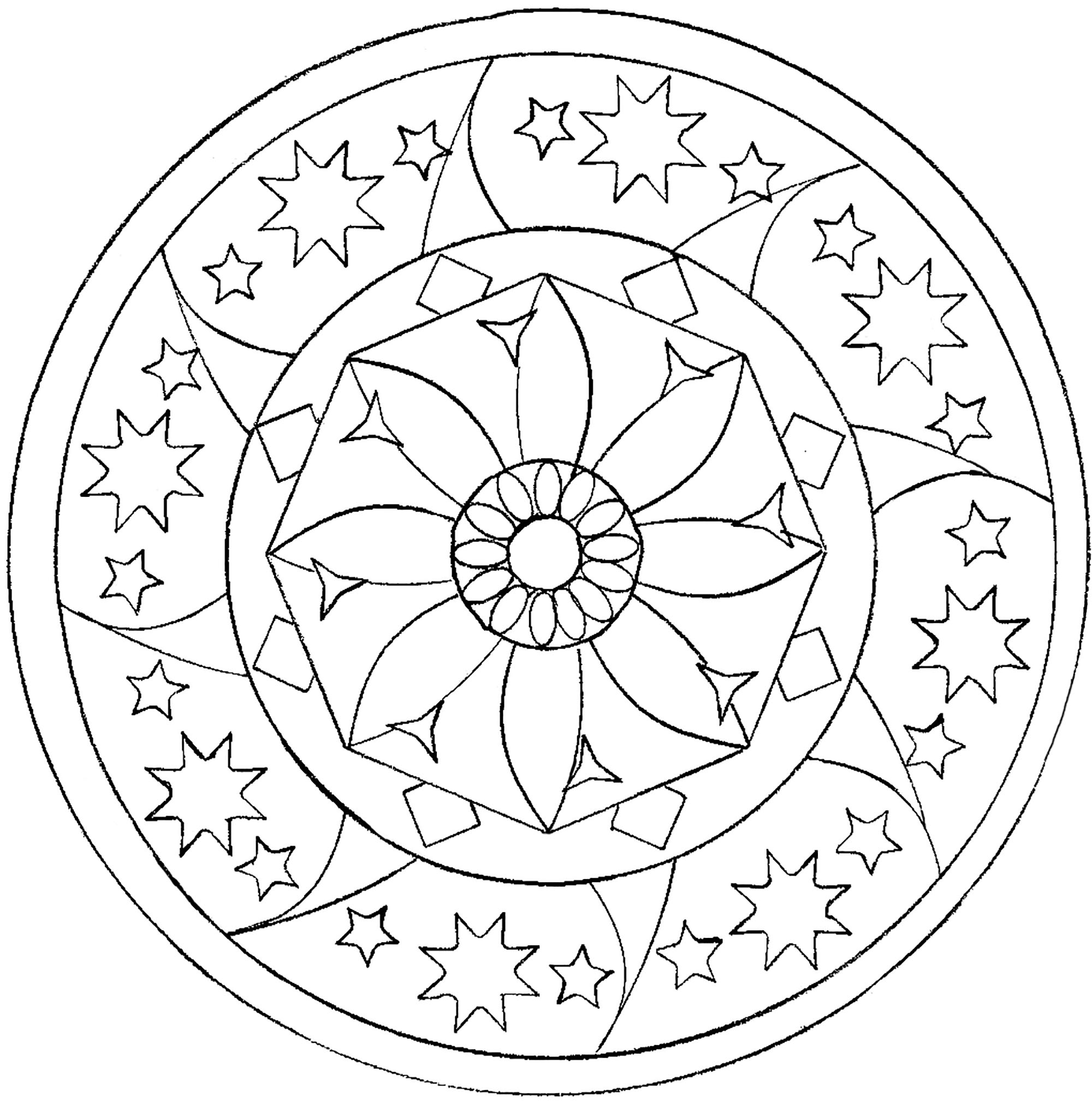 Coloring Page Of A Star Star Mandala Malas Adult Coloring Pages