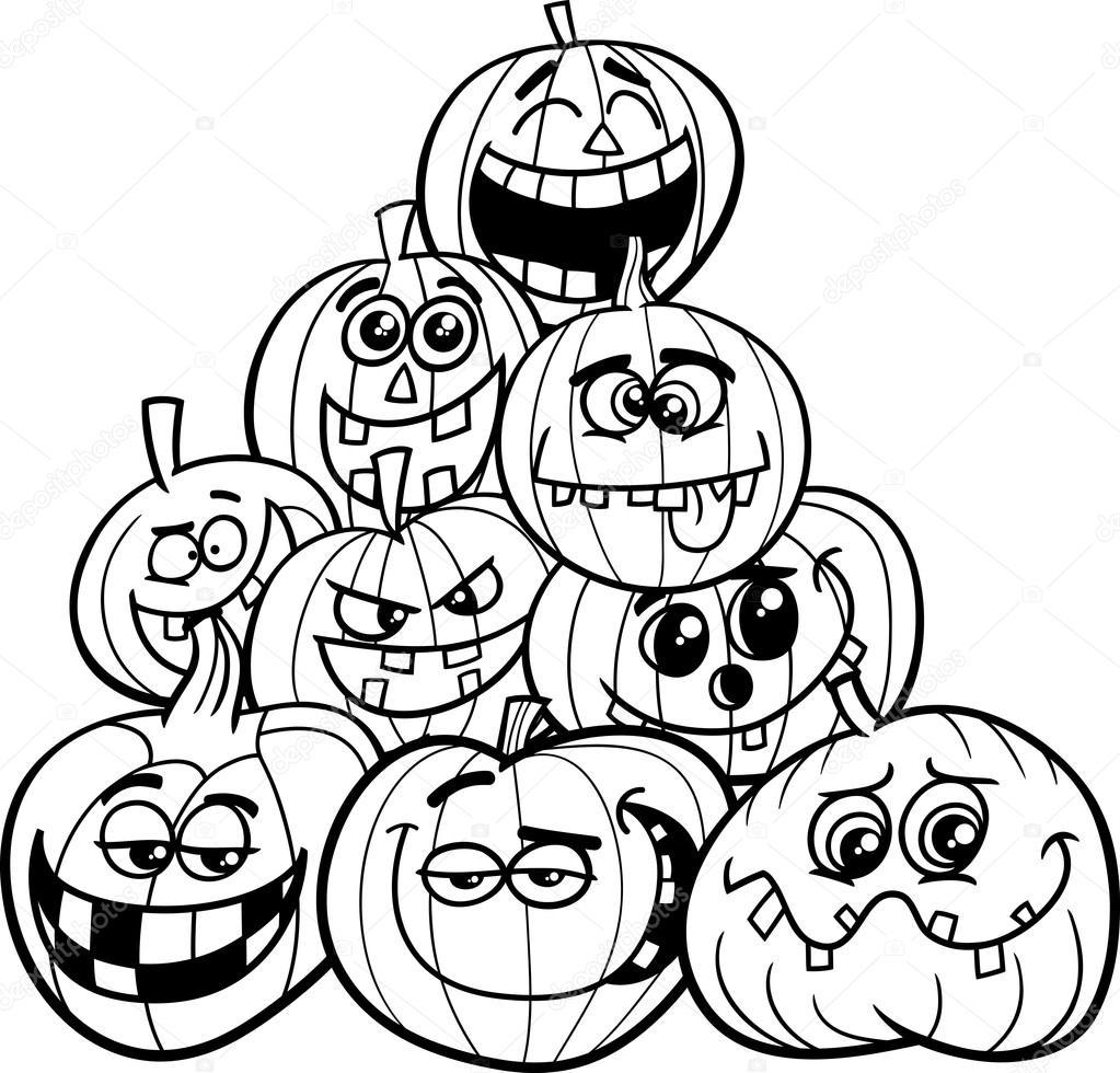 Coloring Page Of Pumpkin Halloween Pumpkins Coloring Page Stock Vector Izakowski 123505720