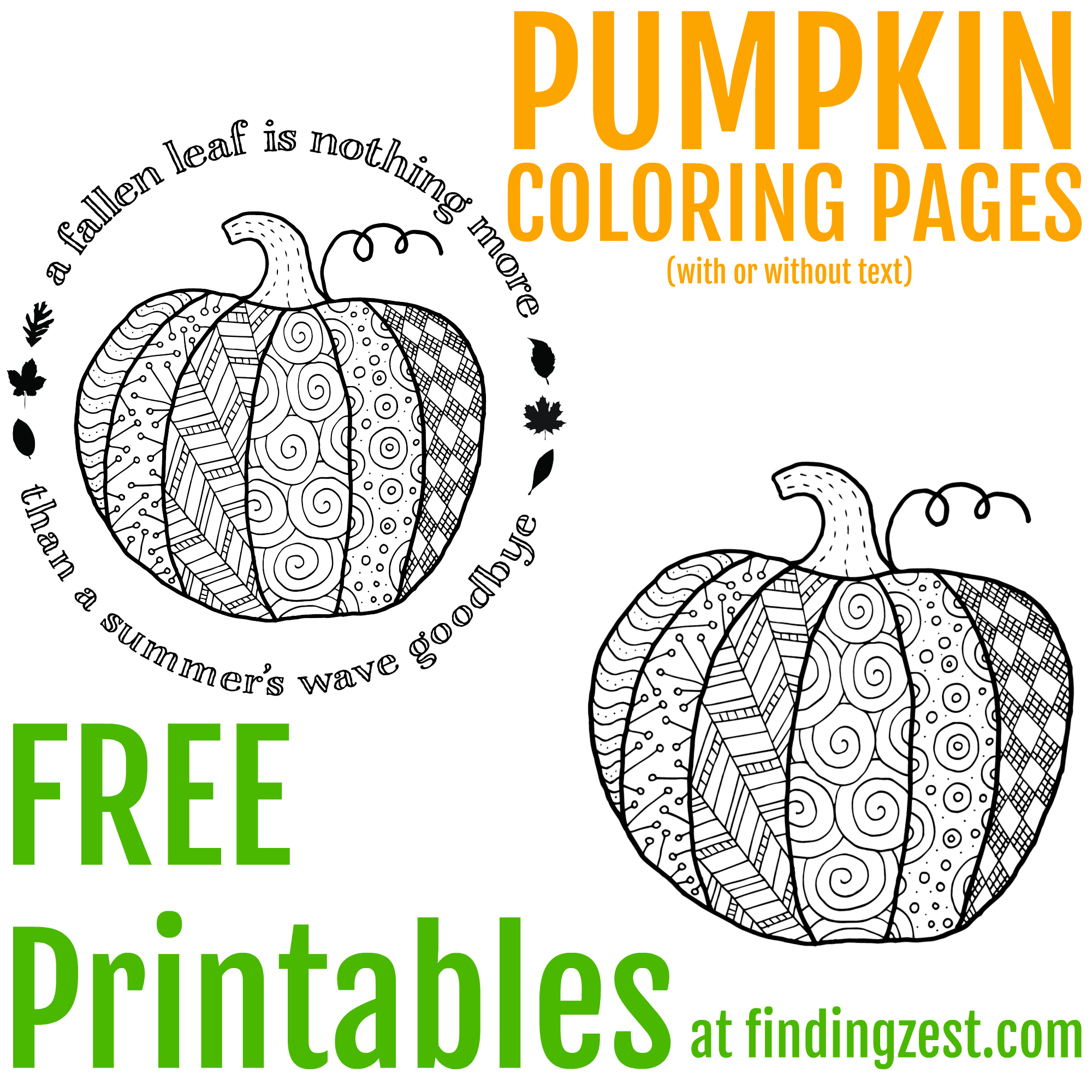 Coloring Page Of Pumpkin Pumpkin Coloring Page Printable Finding Zest
