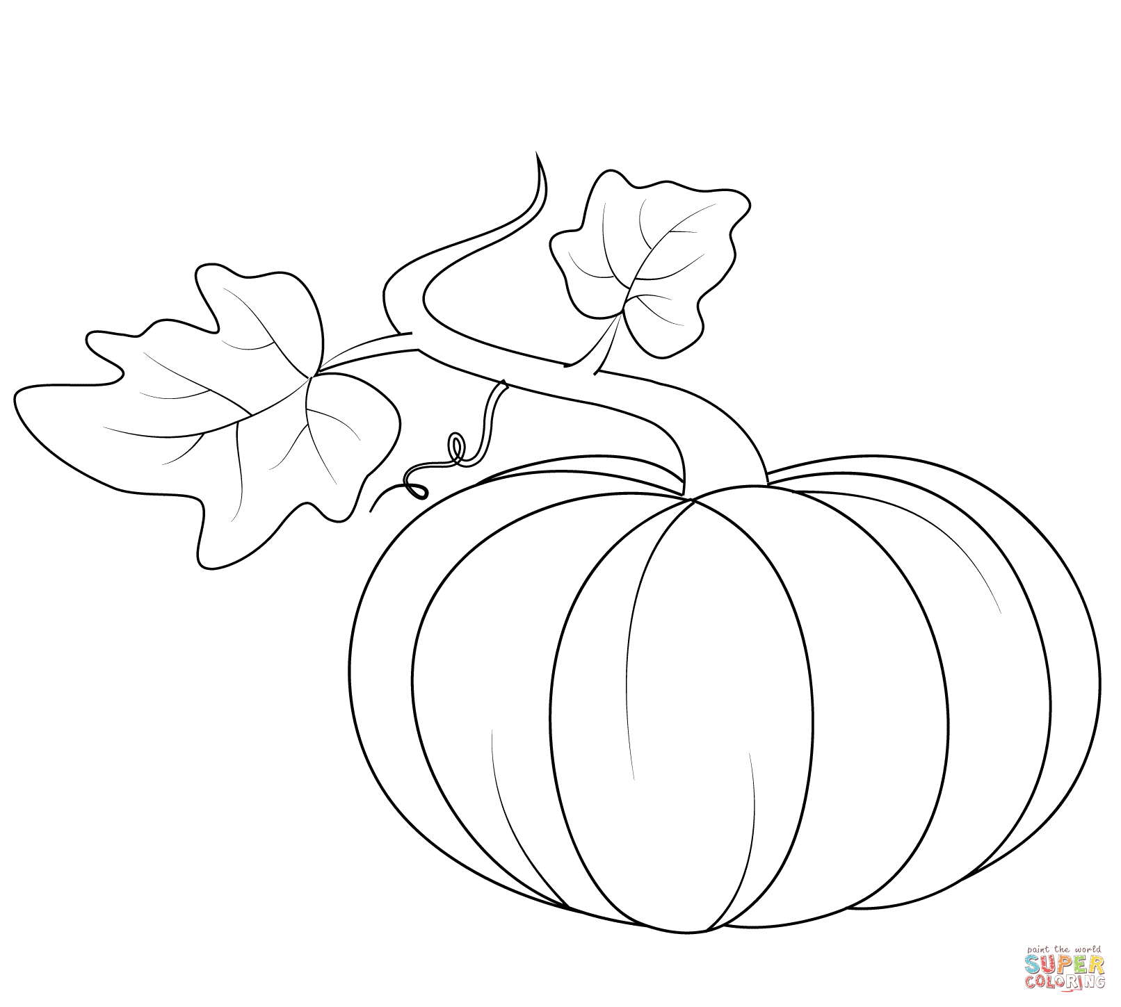 Coloring Page Of Pumpkin Pumpkin With Leaves Coloring Page Free Printable Coloring Pages