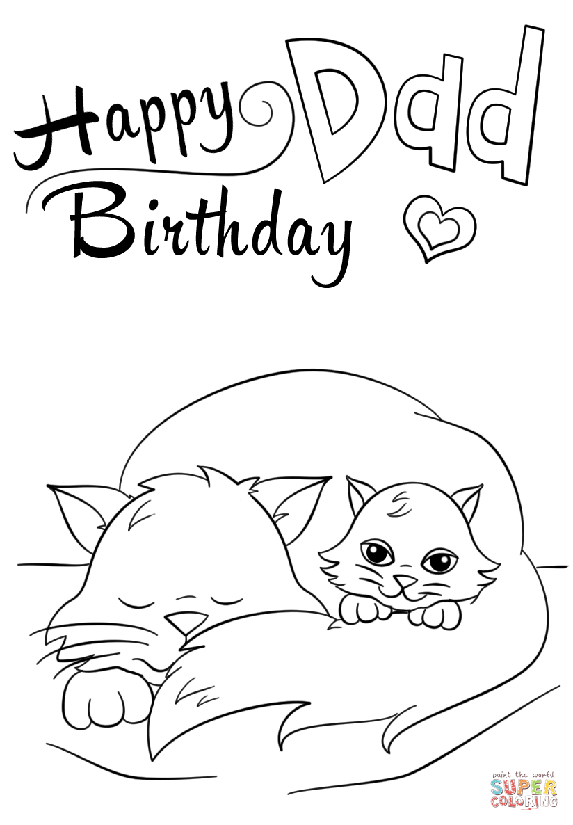 Coloring Pages For Birthday Happy Birthday Dad Coloring Page Free Printable Coloring Pages