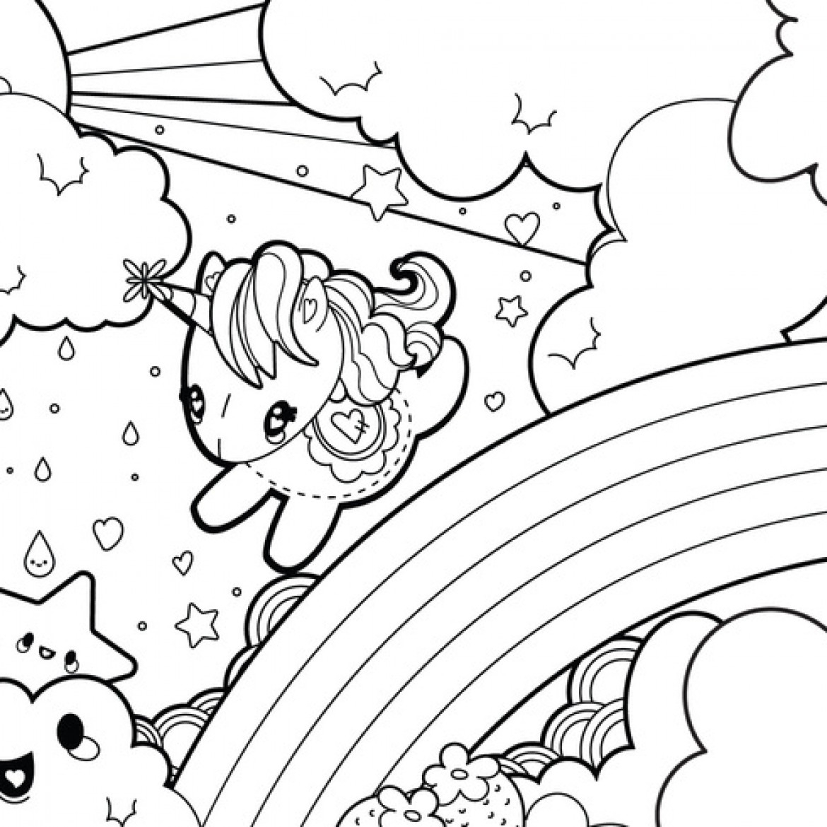 Coloring Pages For Kids To Print Out Coloring Pages Happy Unicorn Rainbow Coloring Page Printable Free