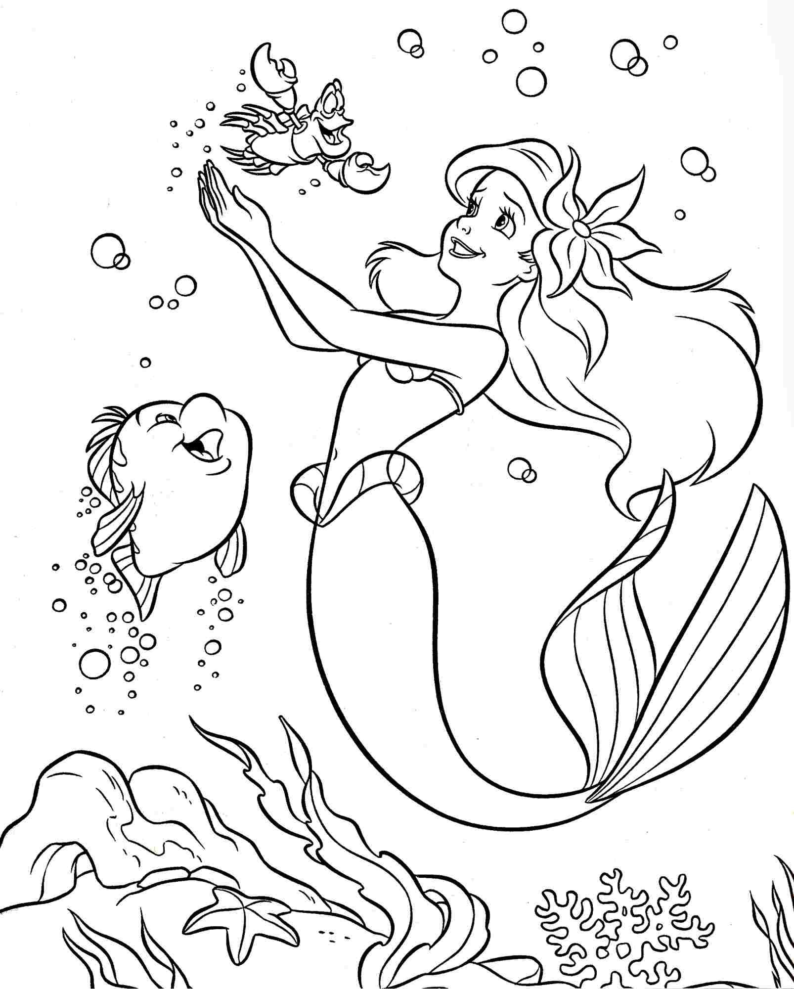 Coloring Pages Of Little Mermaid Coloring Book Disney Little Mermaid Coloring Pages Sea Creatures