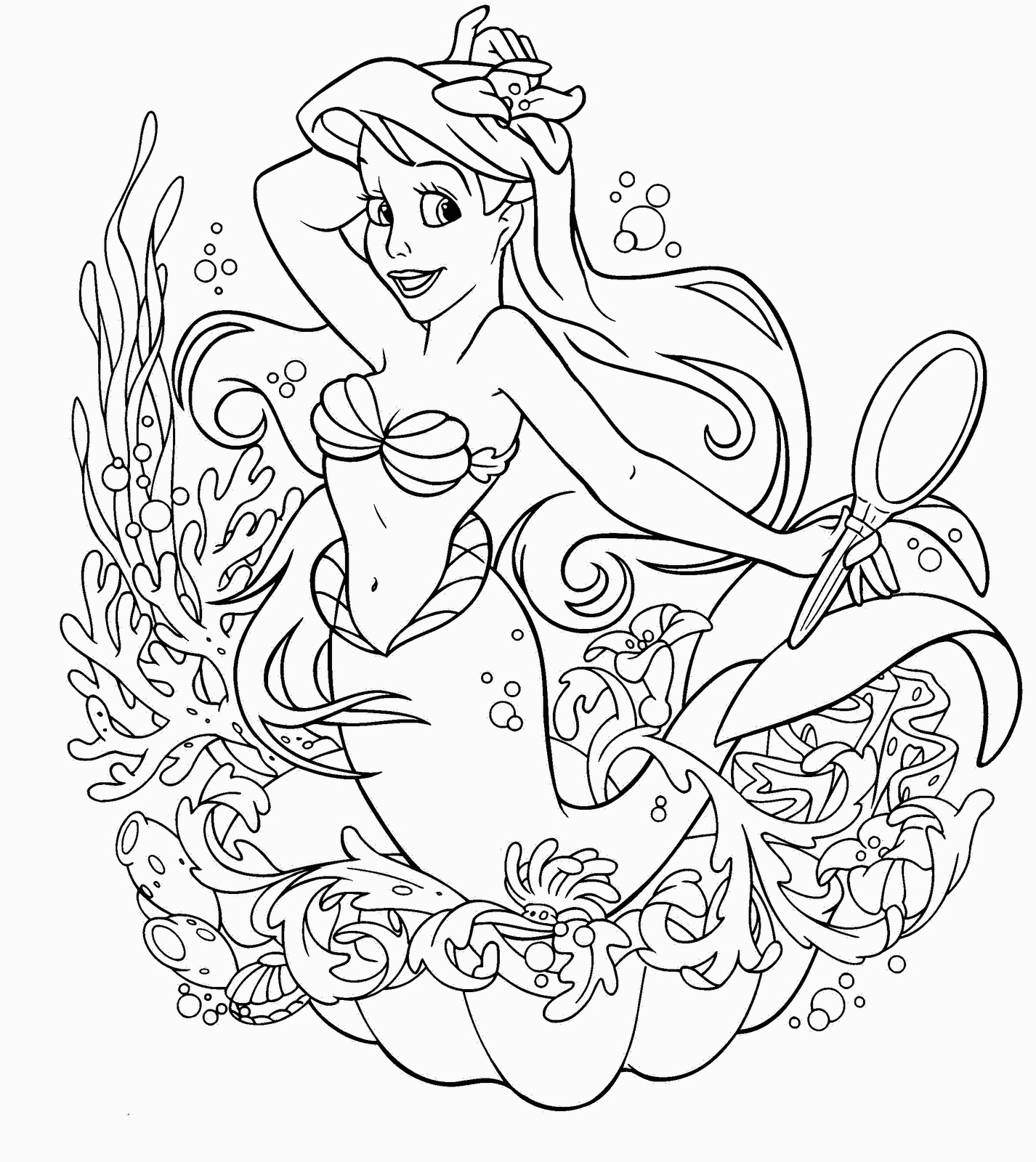Coloring Pages Of Little Mermaid Disney Little Mermaid Coloring Page Best Gift Ideas Blog For Disney