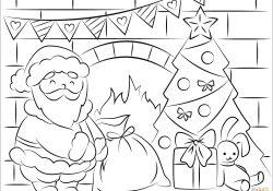 Coloring Pages Santa Santa Claus Bringing Presents In Christmas Coloring Page Free