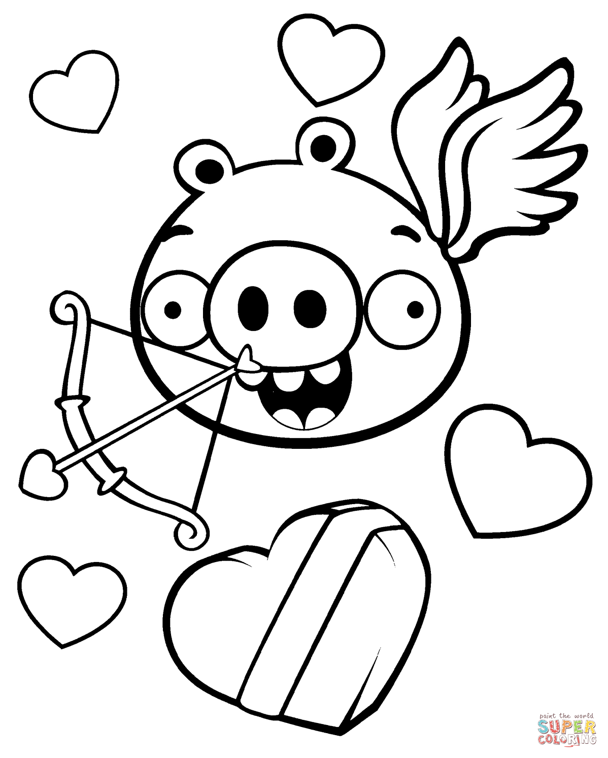 Coloring Pages Valentine Minion Pig Valentine Theme Coloring Page Free Printable Coloring Pages