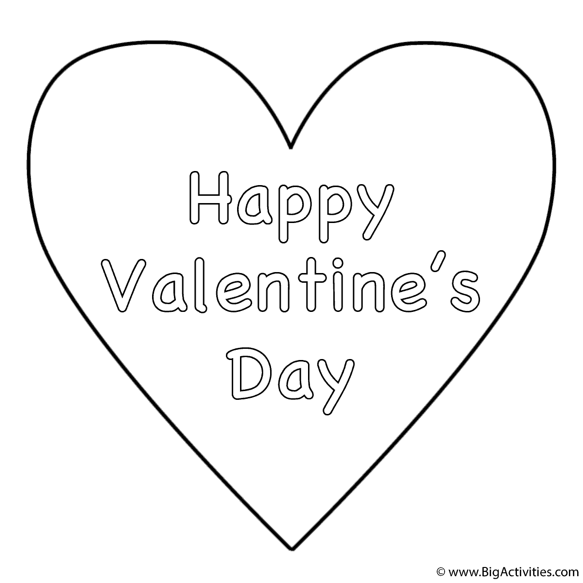 Coloring Pages Valentine Simple Heart Happy Valentines Day Coloring Page Valentines Day