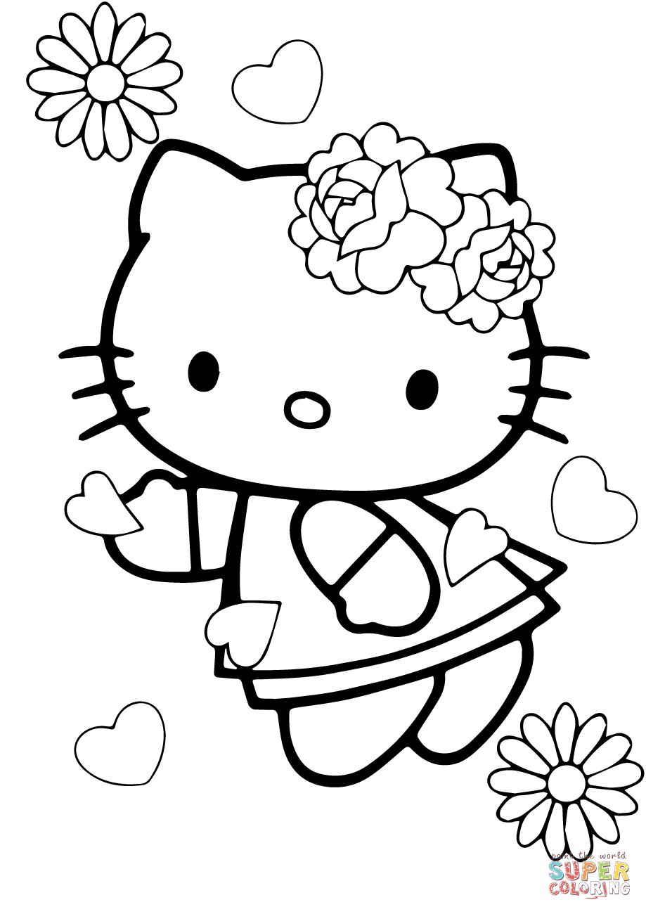Coloring Pages Valentine Valentines Day Hello Kitty Coloring Page Free Printable Coloring
