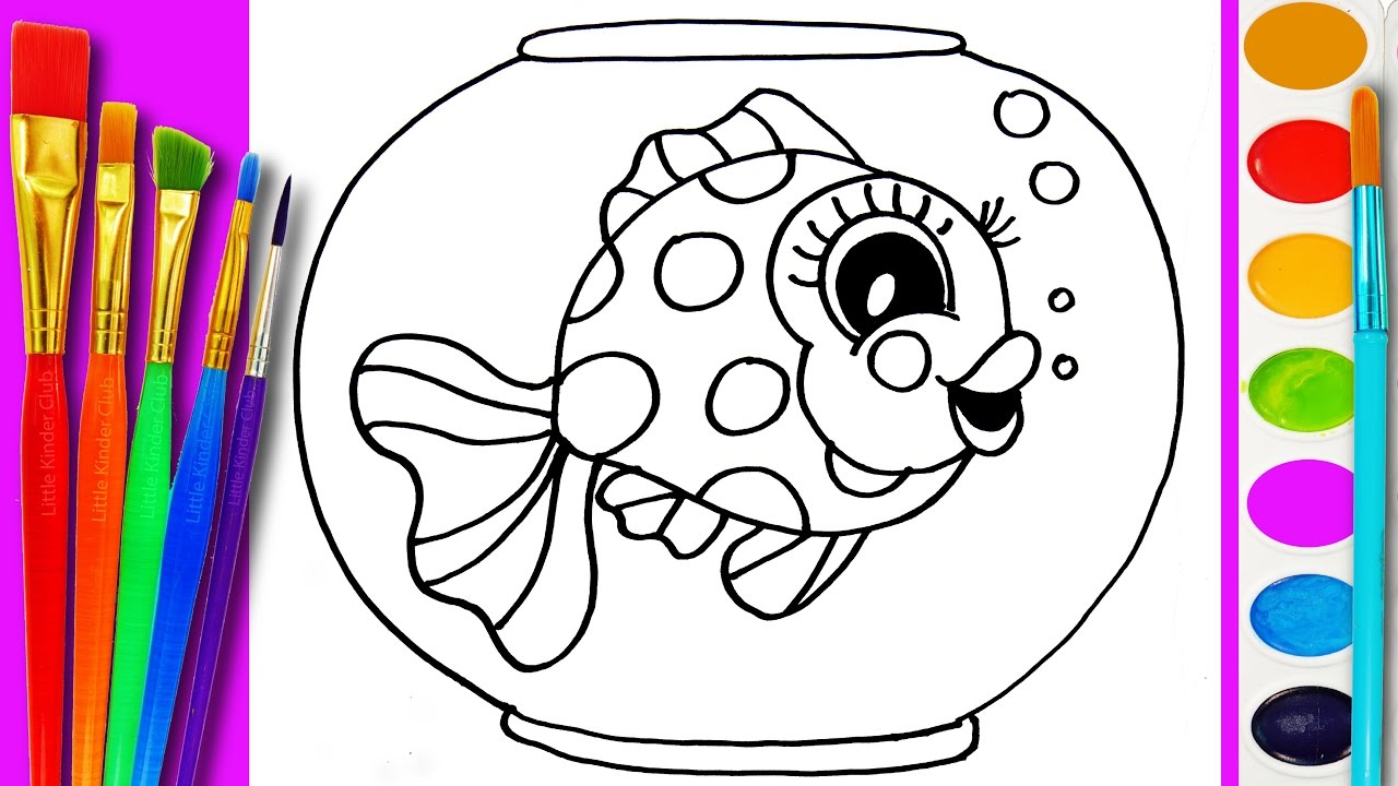 Crayola Fish Coloring Pages How To Draw Gold Fish Coloring Page Cute Fishes For Kids To Learn Painting