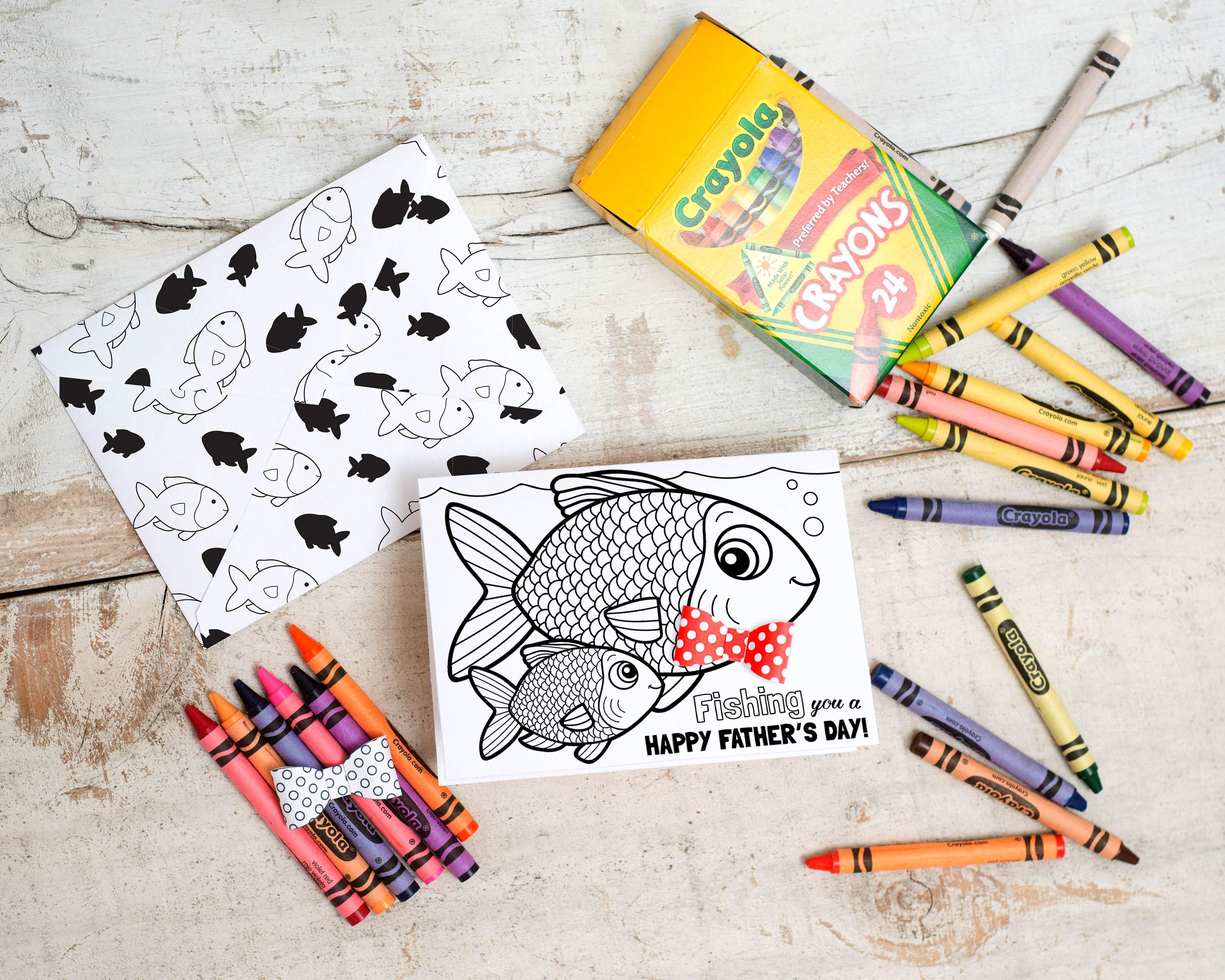 Crayola Fish Coloring Pages Printable Fish Fathers Day Card Fishing Coloring Page Card With 3d Bowtie Diy Kids Classroom Craft Fathers Day Activity Printable