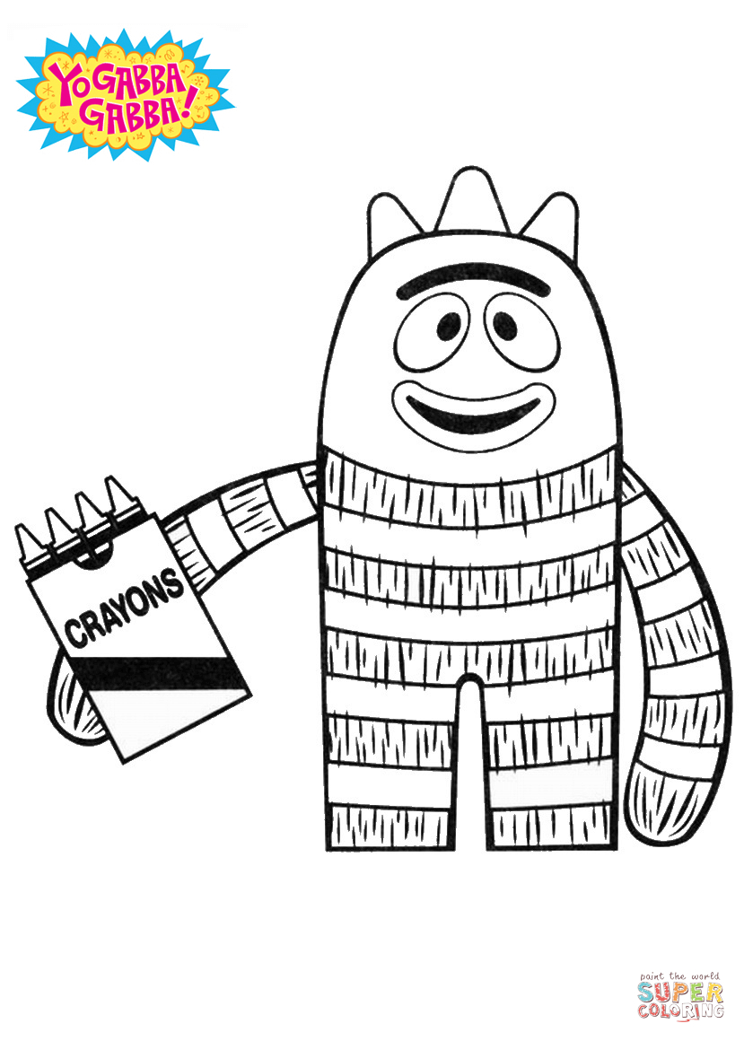 Crayon Coloring Pages Printable Brobee With Crayons Coloring Page Free Printable Coloring Pages