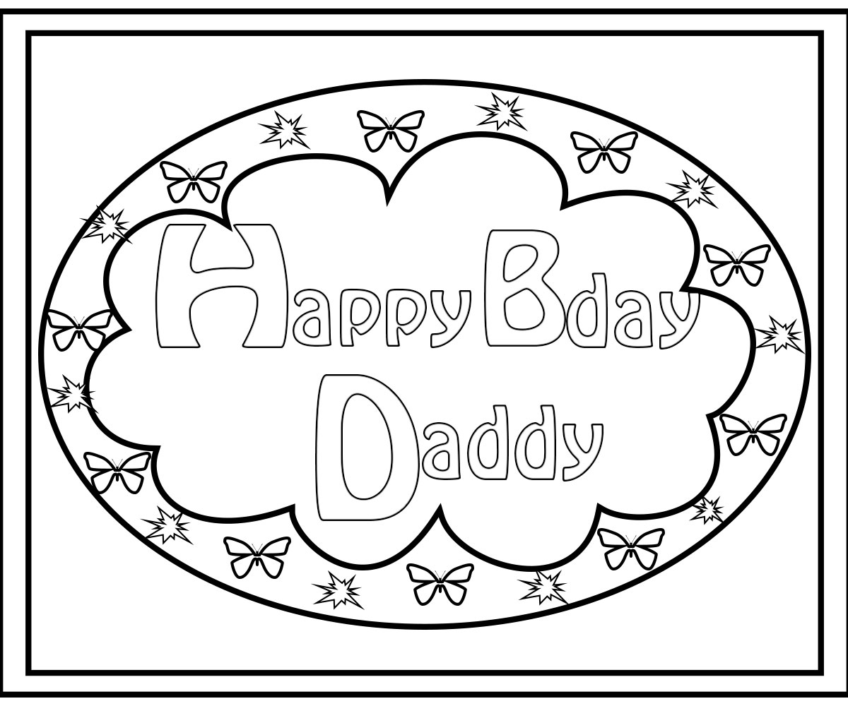 Daddy Coloring Pages Happy Birthday Daddy Coloring Pages