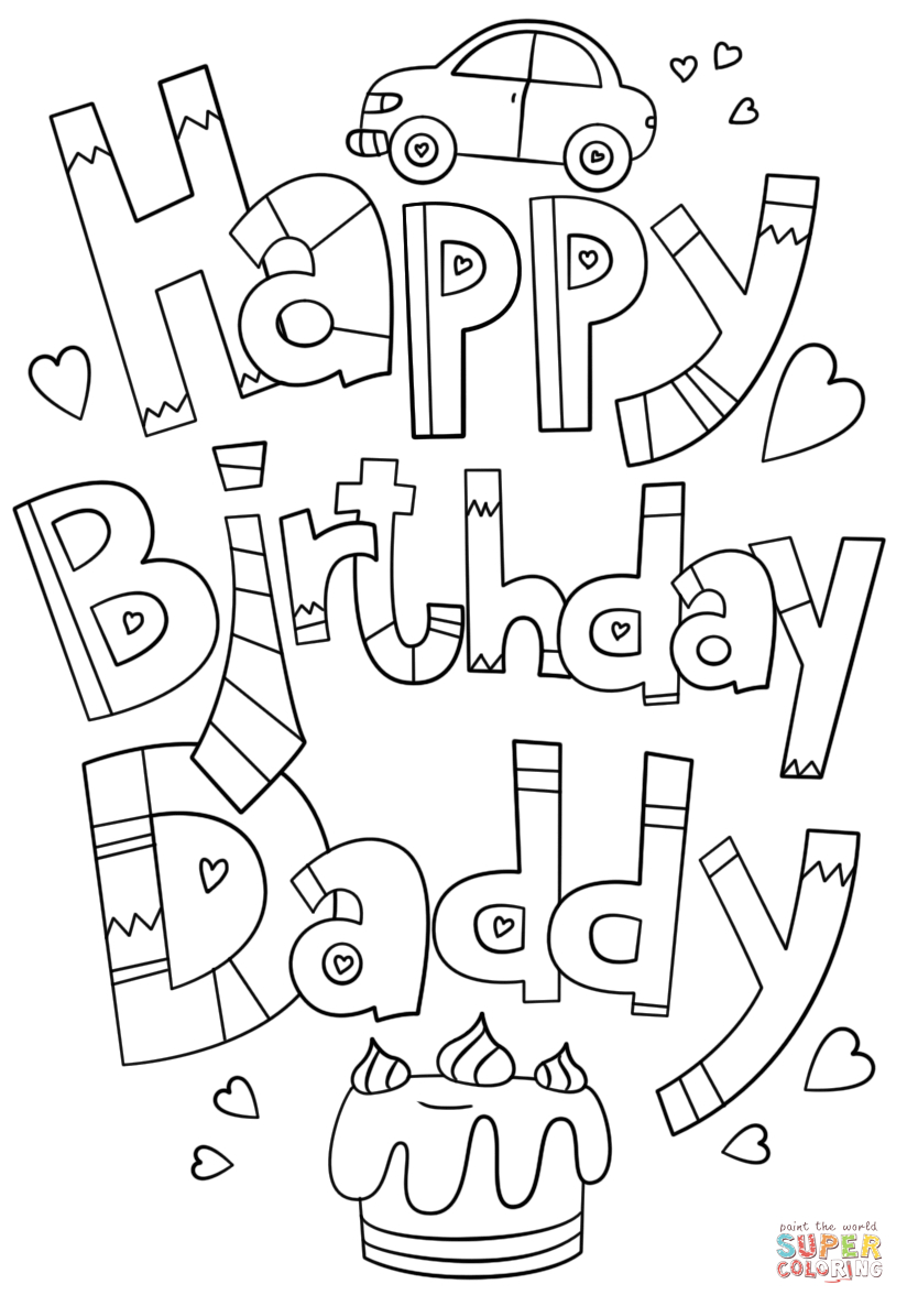 Daddy Coloring Pages Happy Birthday Daddy Doodle Coloring Page Free Printable Coloring
