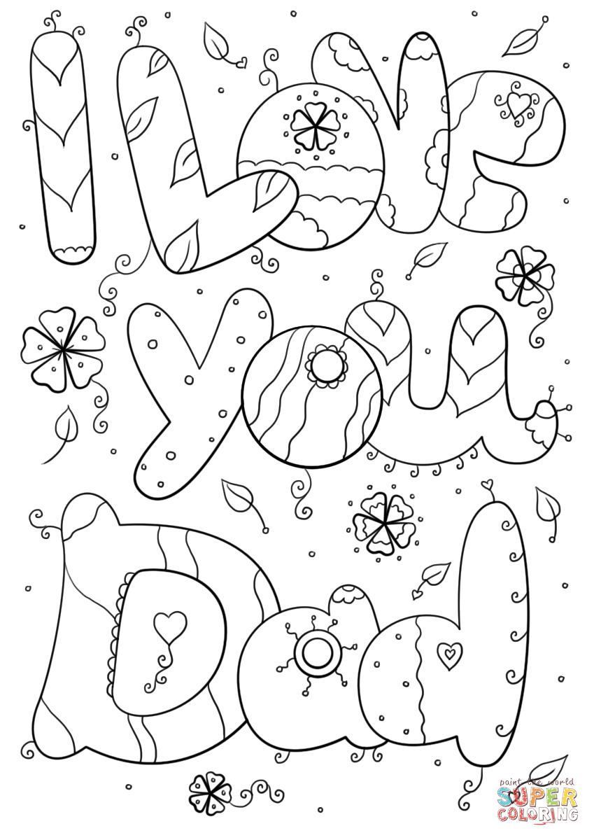 Daddy Coloring Pages I Love You Dad Coloring Page Free Printable Coloring Pages