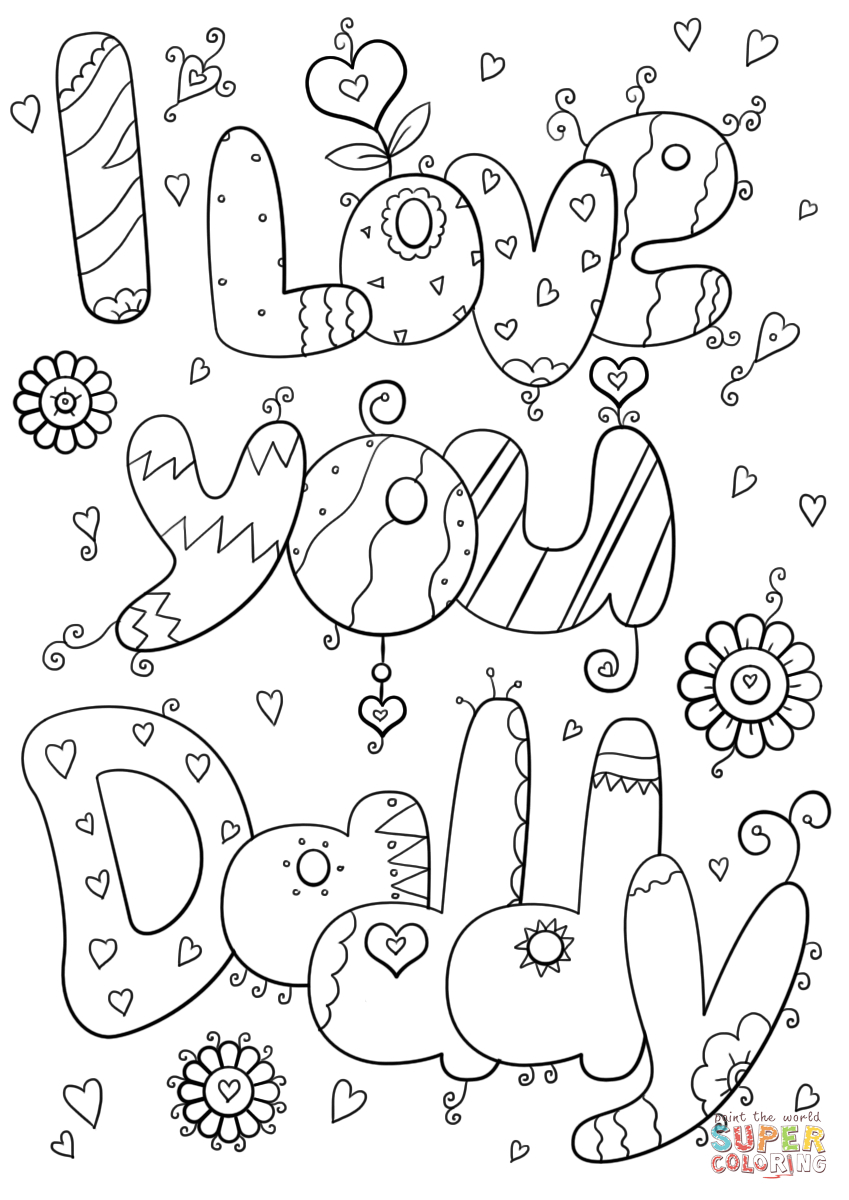 Daddy Coloring Pages I Love You Daddy Coloring Page Free Printable Coloring Pages