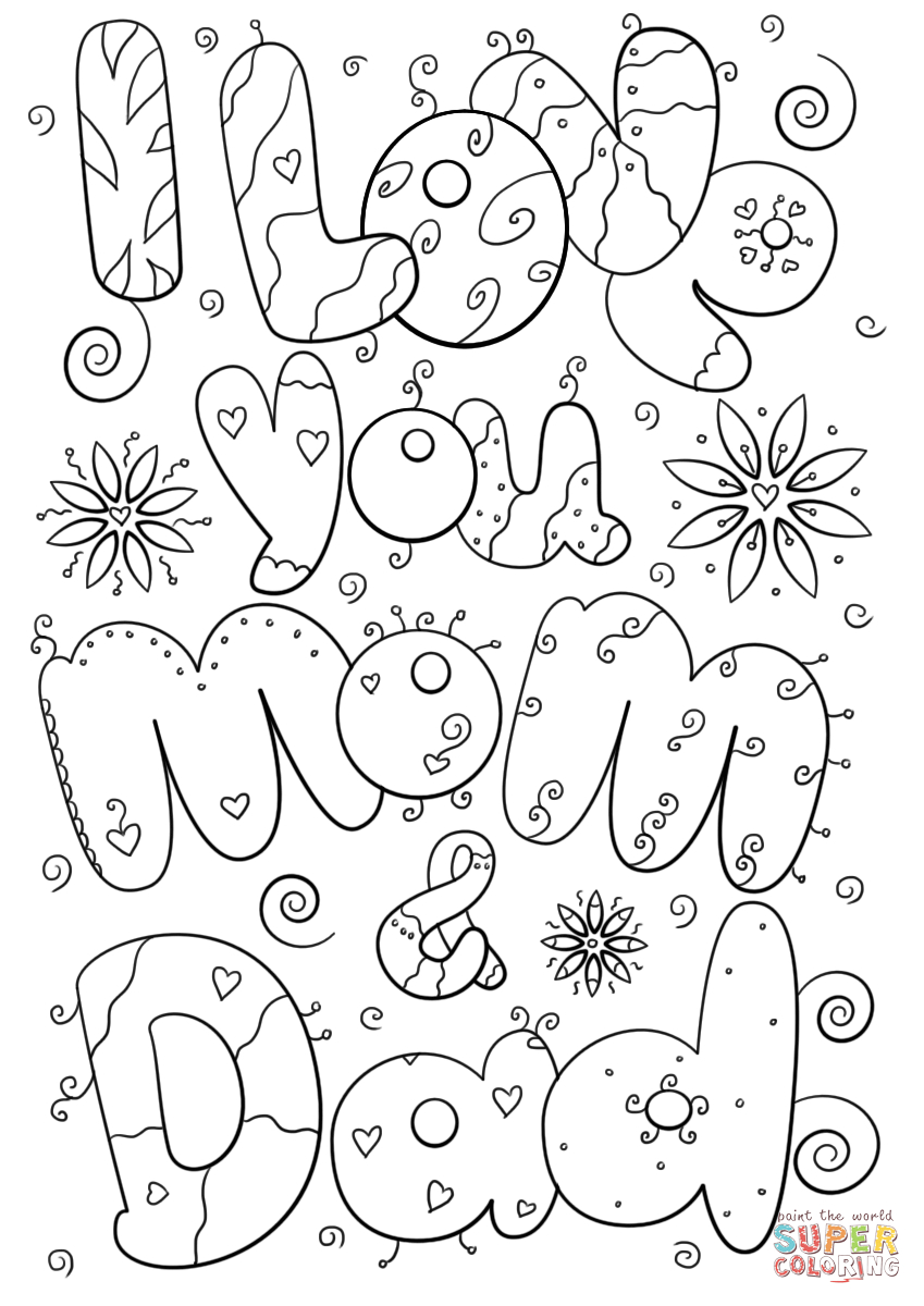 Daddy Coloring Pages I Love You Mom And Dad Coloring Page Free Printable Coloring Pages