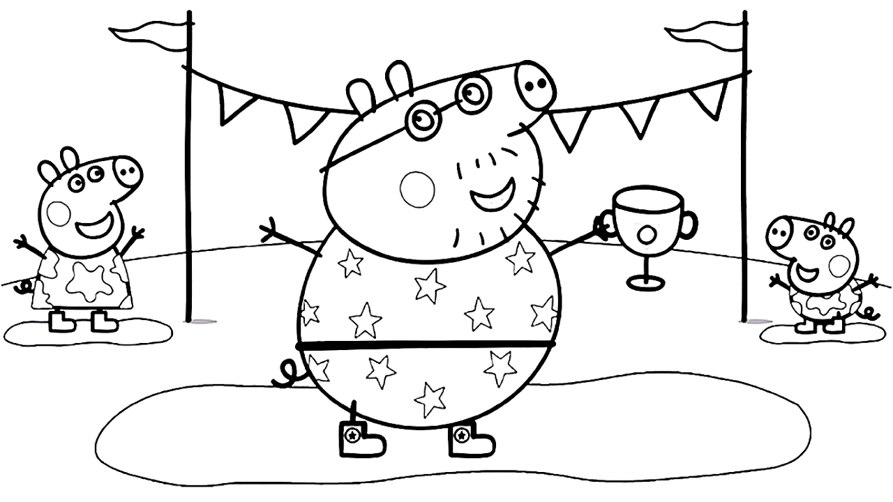 Daddy Coloring Pages Peppa Pig Daddy Pig Coloring Book Coloring Pages Video For Kids