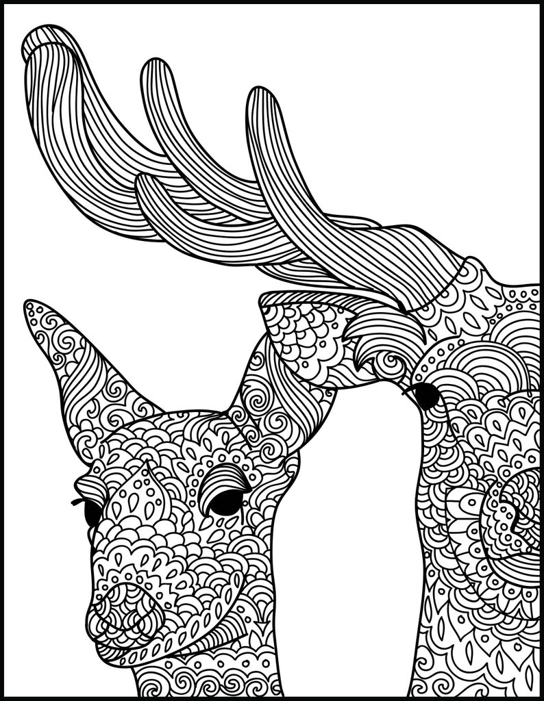 Deer Coloring Pages Animal Adult Coloring Page Deer Printable Coloring Page Adult Coloring Page Animal Coloring Page For Adults Coloring Pages For Adults