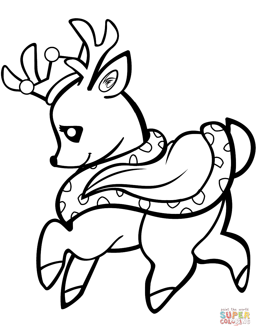 Deer Coloring Pages Ba Deer In A Crown Coloring Page Free Printable Coloring Pages