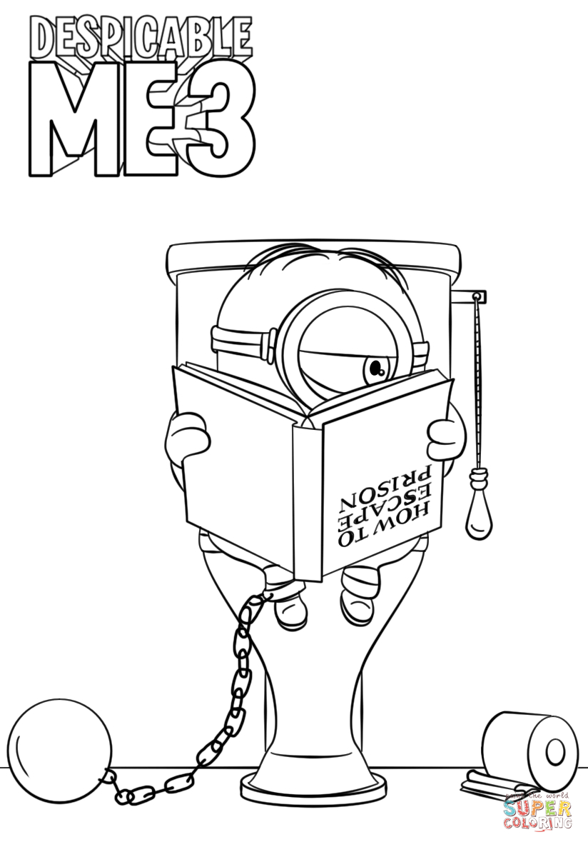 Despicable Coloring Pages Despicable Me 3 Minion In Prison Coloring Page Free Printable