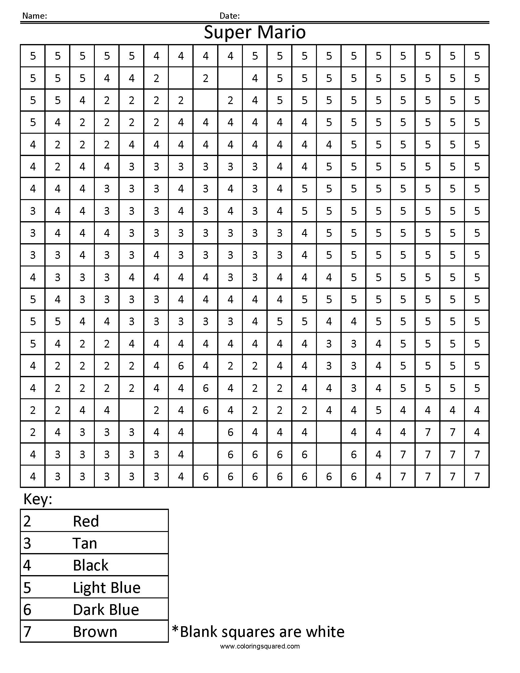 Disney Color By Number Printable Pages Super Mario Color Number Coloring Squared