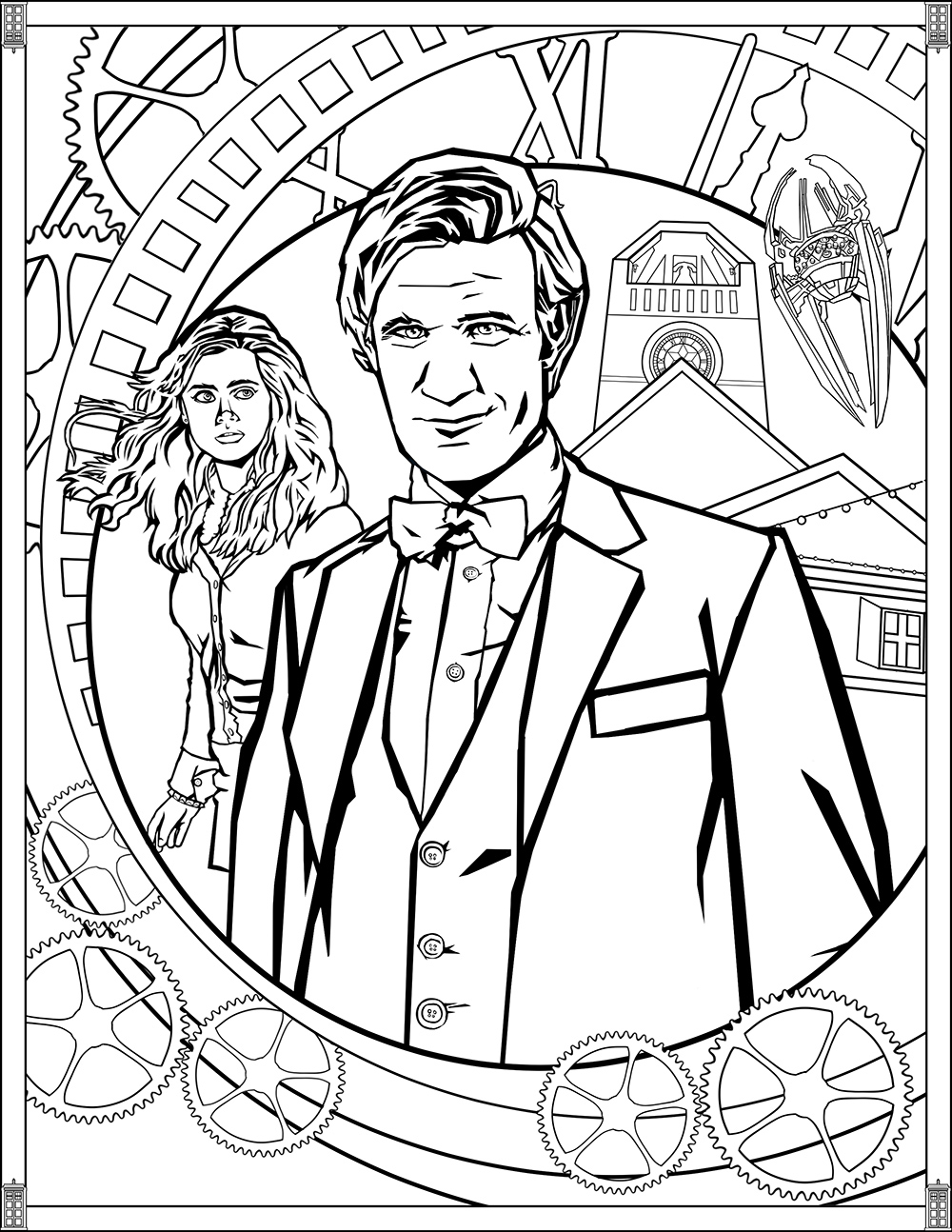 Doctor Who Coloring Page Doctor Who Pages Eleventh Doctor Tv Shows Adult Coloring Pages