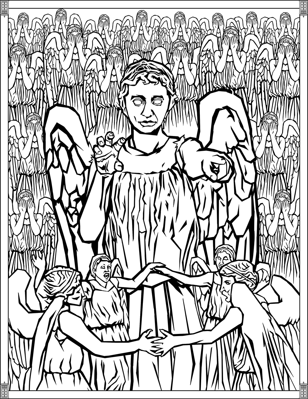Doctor Who Coloring Page Doctor Who Pages Weeping Angels Tv Shows Adult Coloring Pages