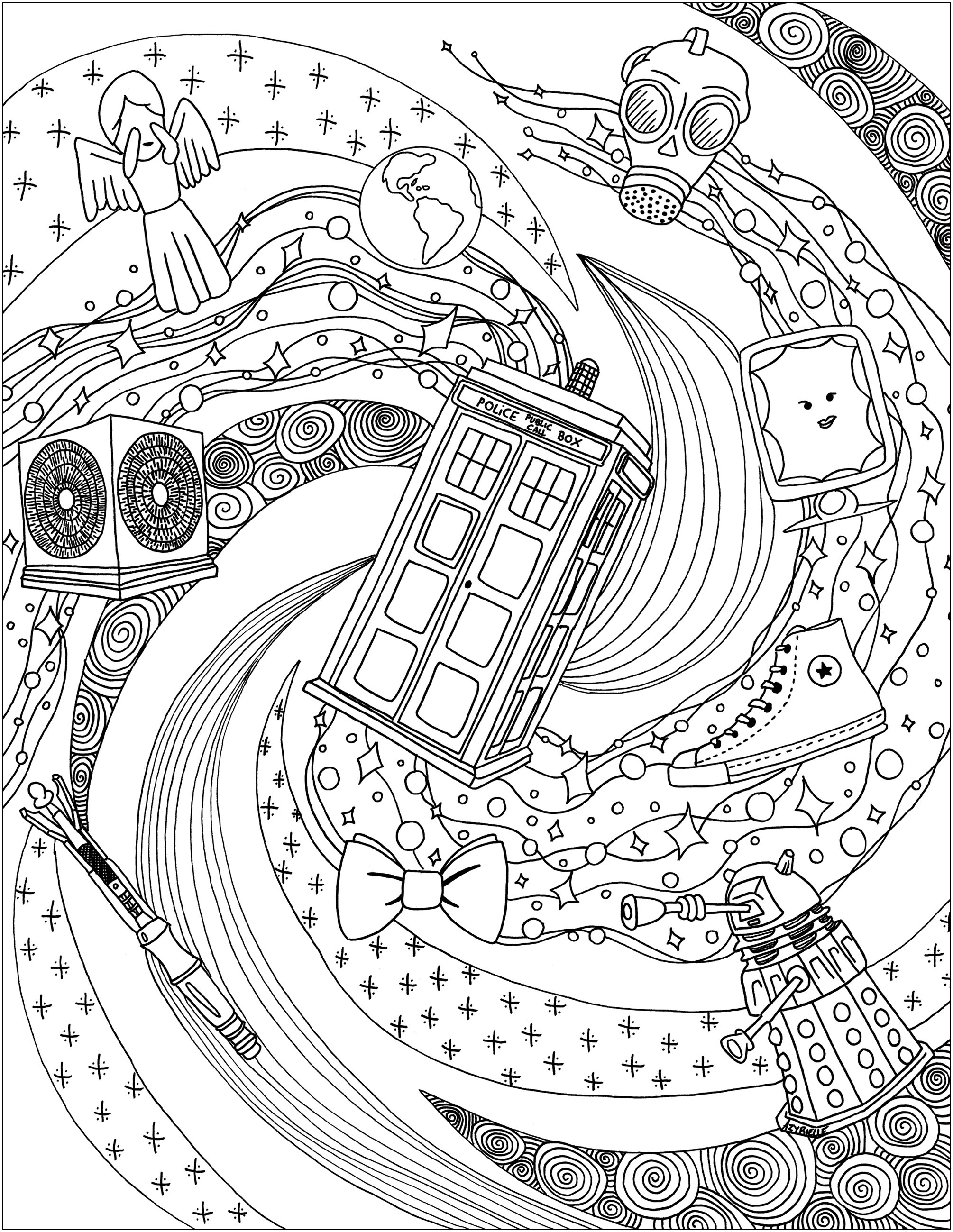 Doctor Who Coloring Page Doctor Whos World Tv Shows Adult Coloring Pages
