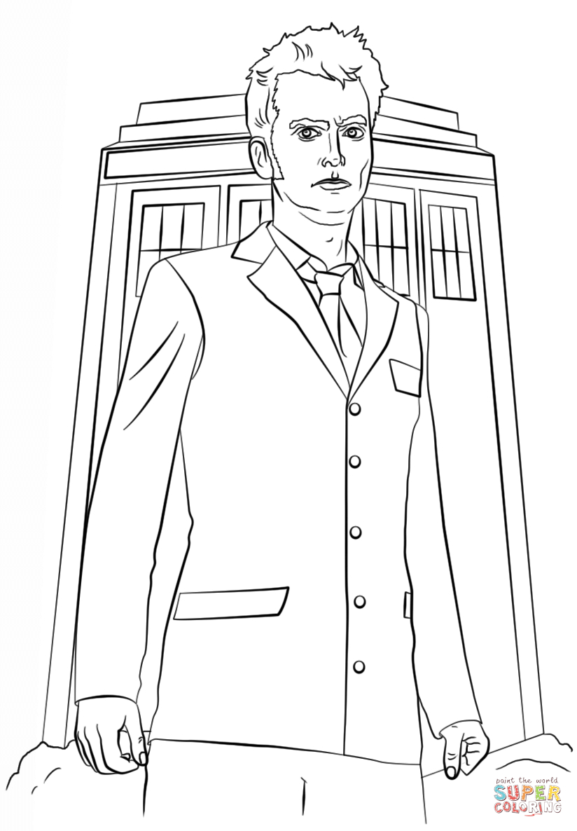 Doctor Who Coloring Page Tenth Doctor Coloring Page Free Printable Coloring Pages