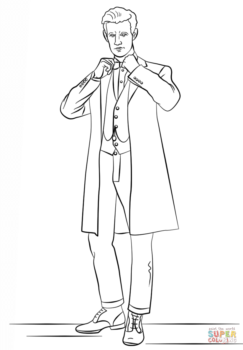 Doctor Who Coloring Page The Eleventh Doctor From Doctor Who Coloring Page Free Printable