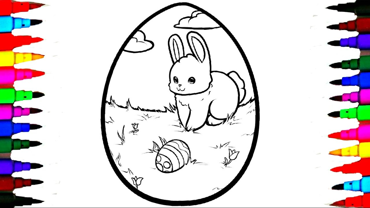Easter Egg Coloring Page Coloring Giant Easter Egg Coloring Page Videos For Children Learning Rainbow Coloring Markers