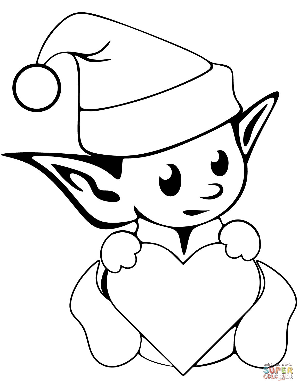 Elf Coloring Pages Printable Cute Christmas Elf Coloring Page Free Printable Coloring Pages