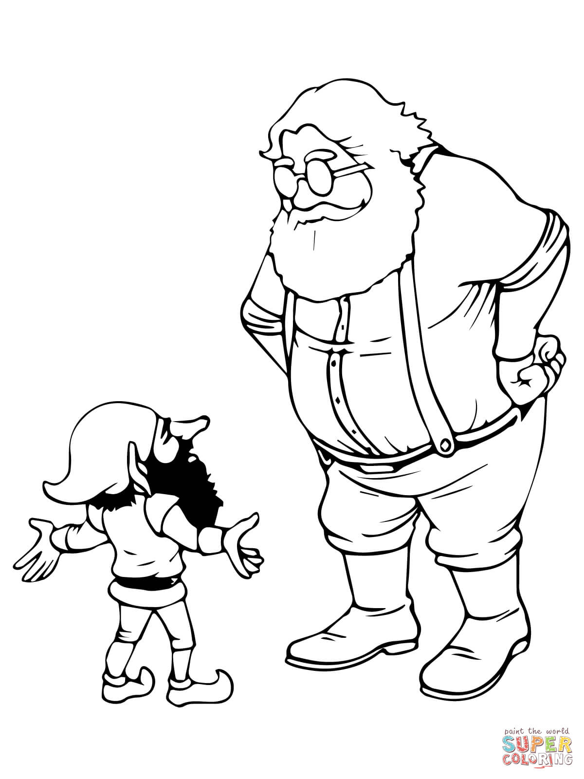 Elf Coloring Pages Printable Santa And Christmas Elf Coloring Page Free Printable Coloring Pages