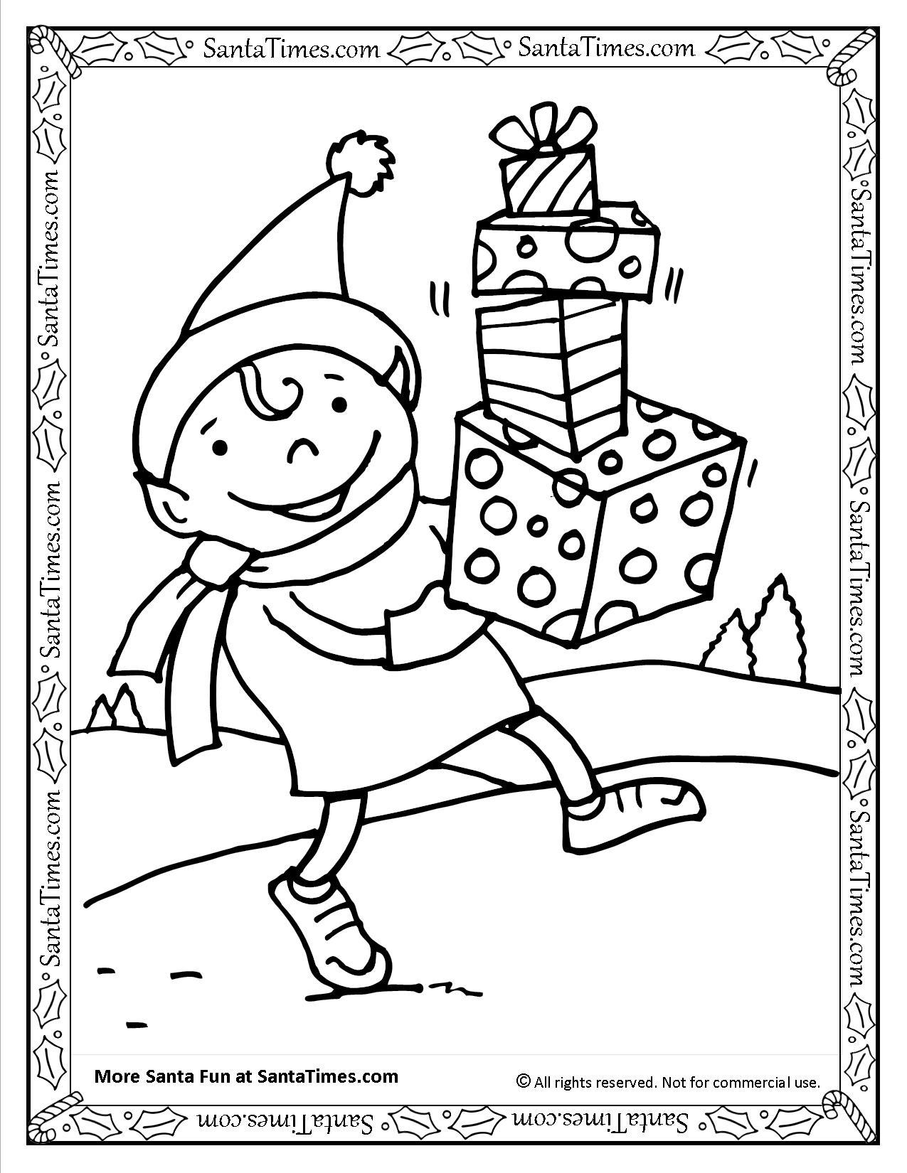 Elf Coloring Pages Printable Santas Elf Printable Coloring Page