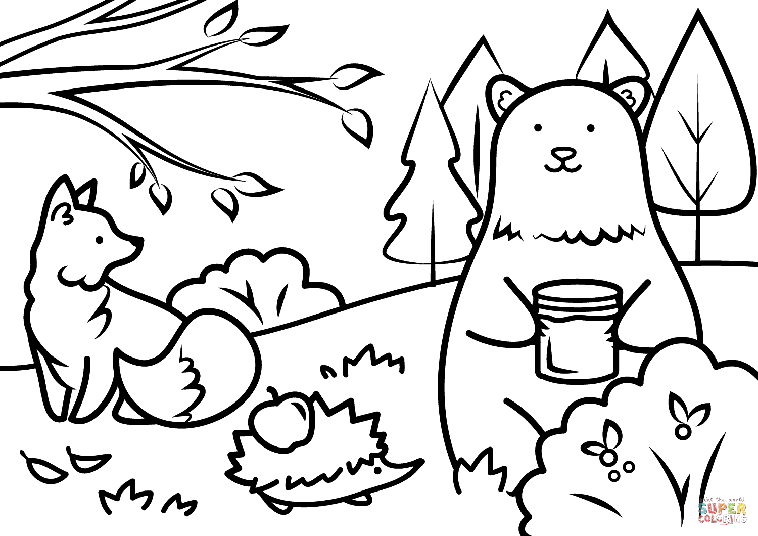 Fall Color Page Autumn Animals Coloring Page Free Printable Coloring Pages