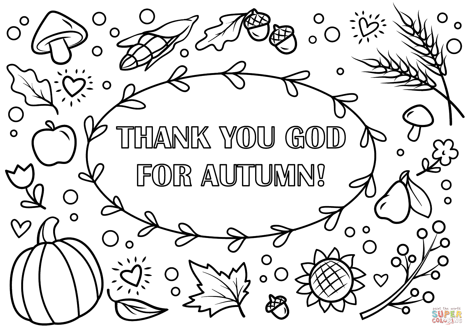 Fall Color Page Fall Coloring Pages To Print Click The Thank You God For Autumn View