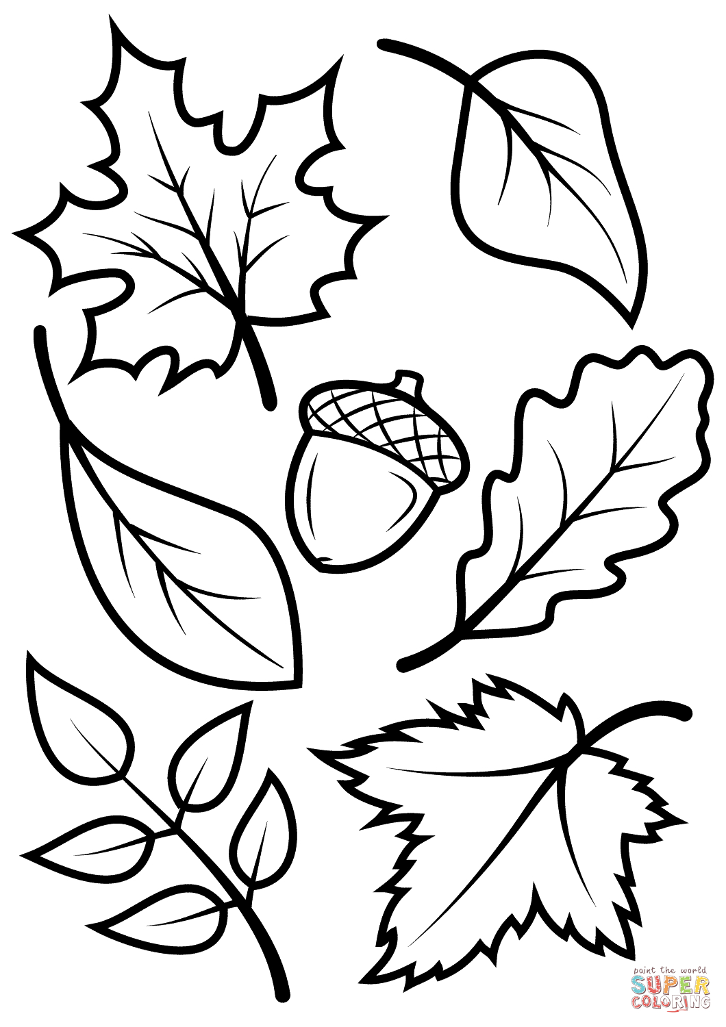 Fall Color Page Fall Leaves And Acorn Coloring Page Free Printable Coloring Pages