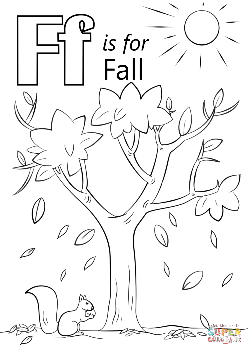 Fall Color Page Letter F Is For Fall Coloring Page Free Printable Coloring Pages