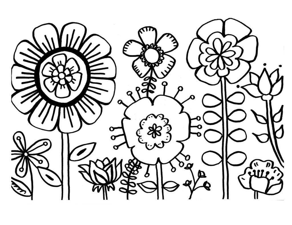 Flowers Coloring Pages Free Printable Coloring Flowers To Colour Floral Coloring Pages Free Printable