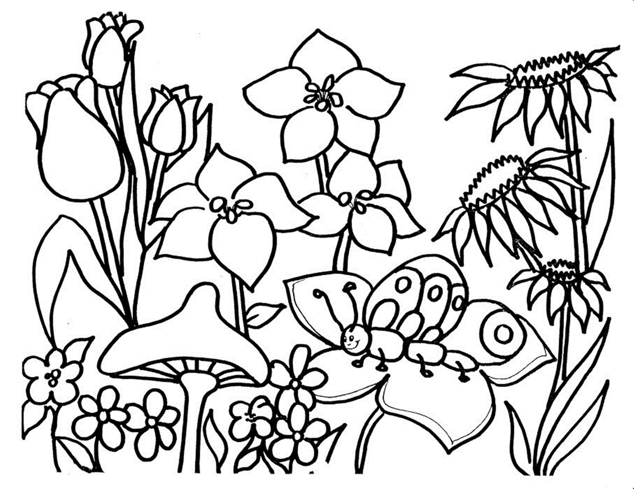 Flowers Coloring Pages Free Printable Kids Coloring Awesome Free Printable Flower Coloring Pages For Kids