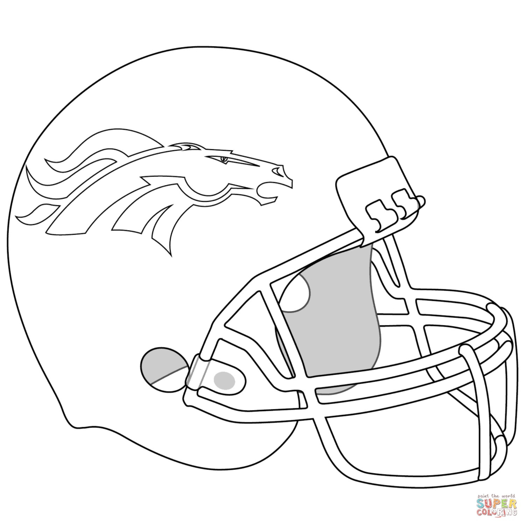 Football Color Pages Coloring Book World Football Helmet Coloring Pages Denver Broncos