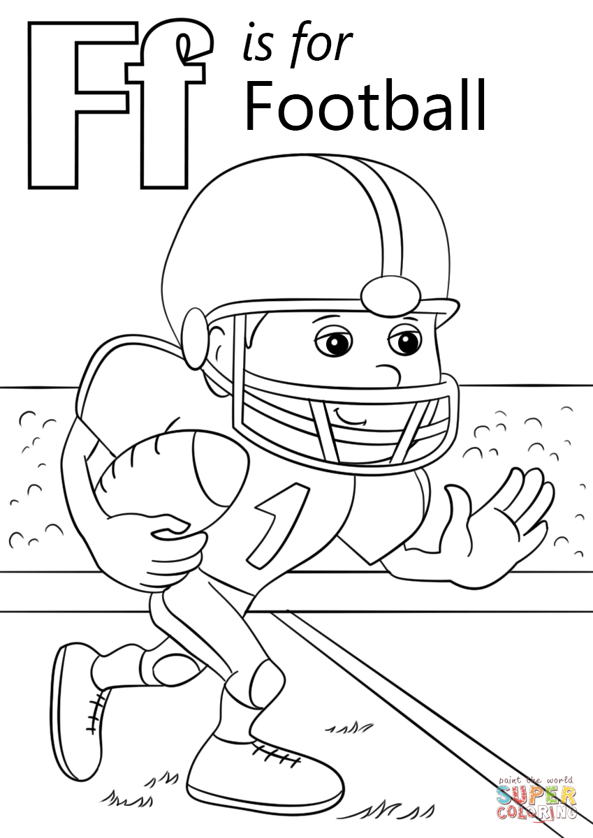 Football Color Pages Letter F Is For Football Coloring Page Free Printable Coloring Pages