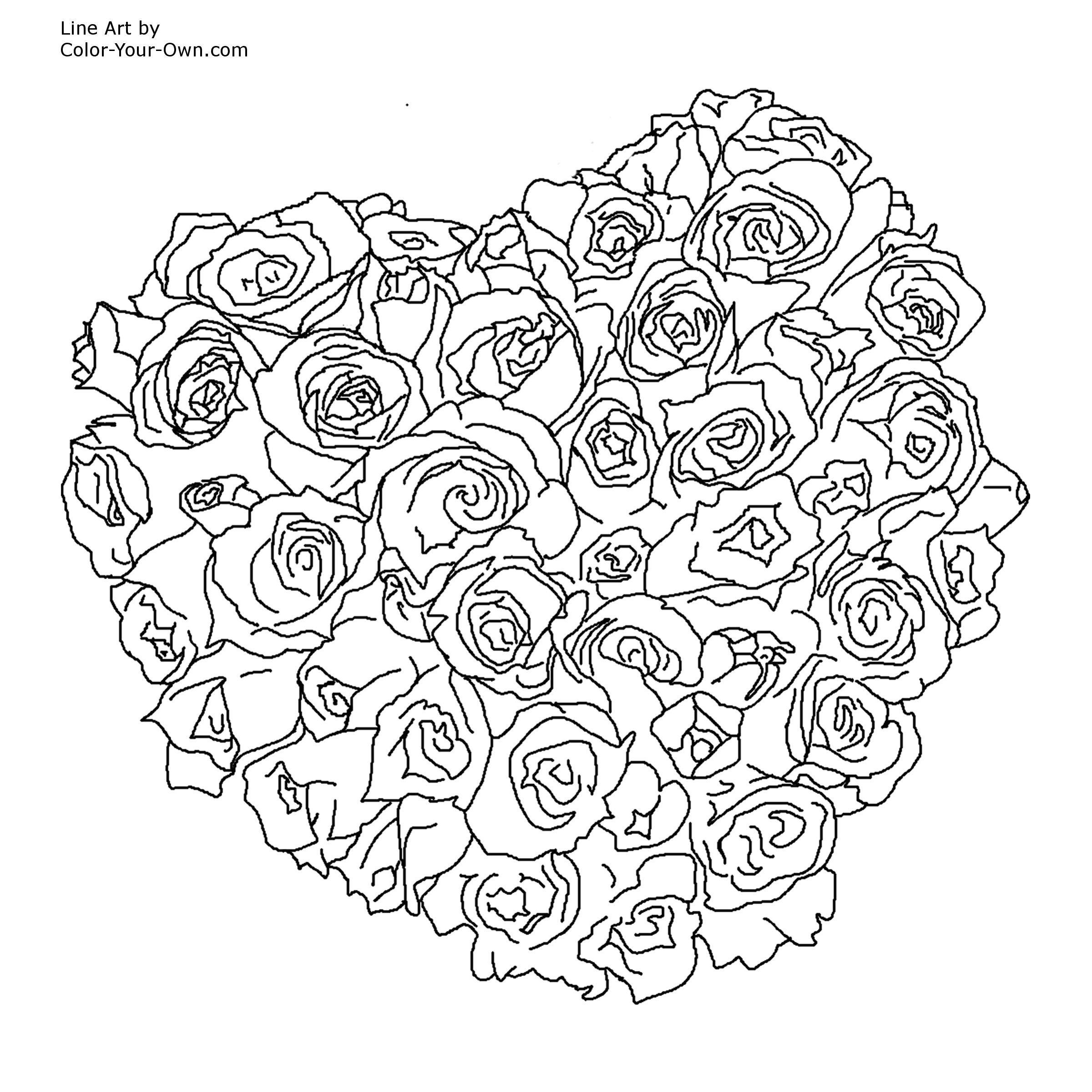 Free Coloring Pages Hearts Free Coloring Pages Hearts And Flowers