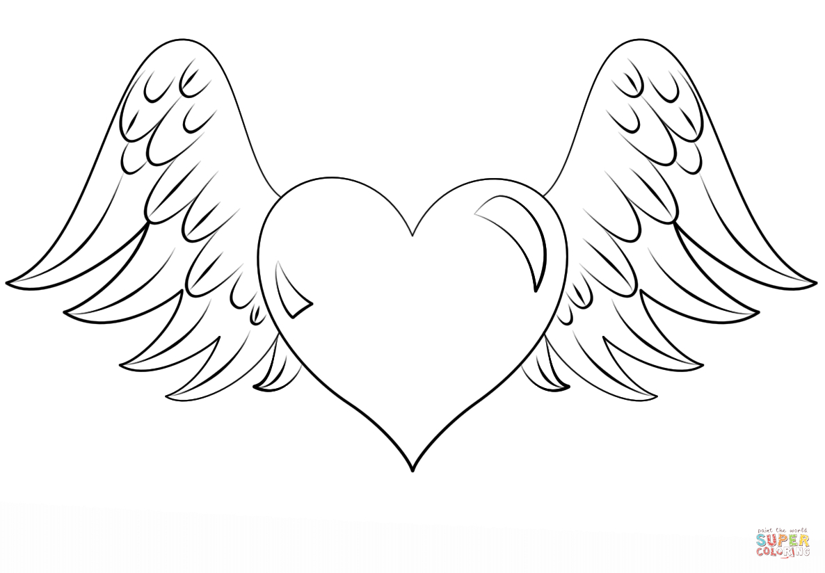Free Coloring Pages Hearts Heart With Wings Coloring Page Free Printable Coloring Pages