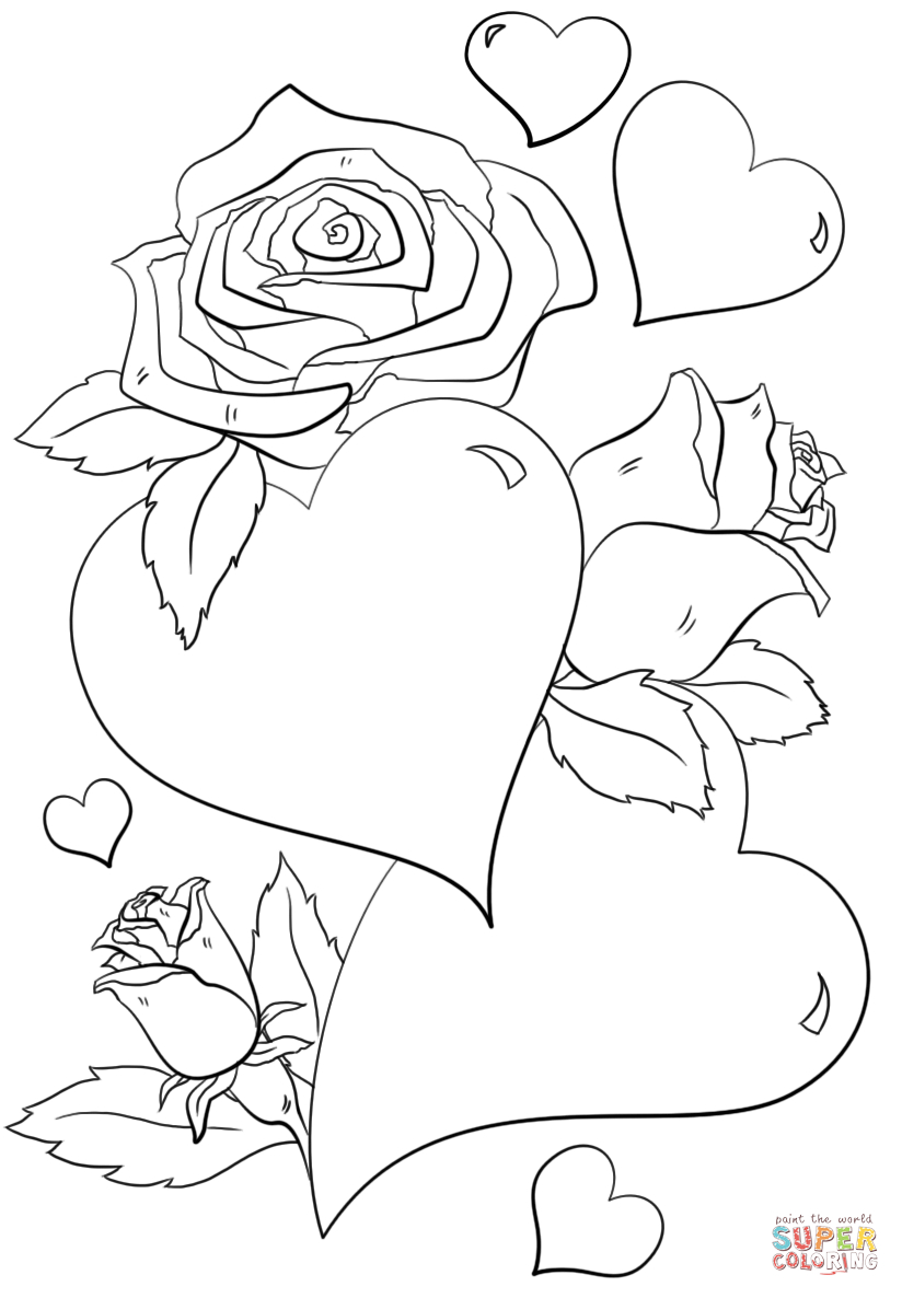 Free Coloring Pages Hearts Hearts And Roses Coloring Page Free Printable Coloring Pages