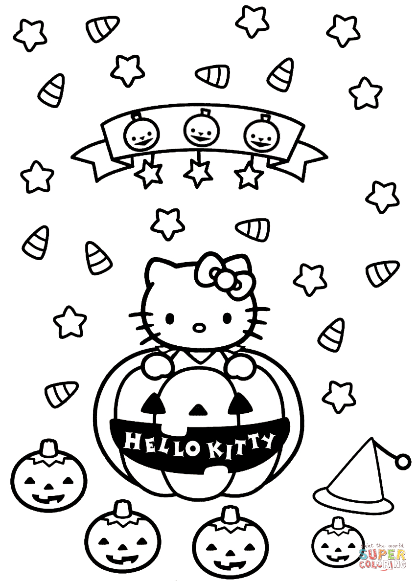 Free Printable Halloween Coloring Page Coloring Ideas Hello Kitty Halloween Coloring Page Free Printable