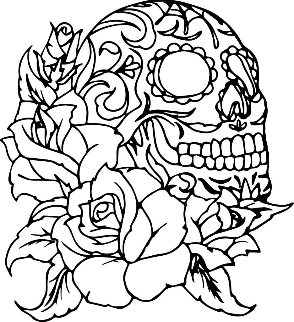 Free Rose Coloring Pages Marvelous Idea Skull And Roses Coloring Pages Skulls 7507 Impressive