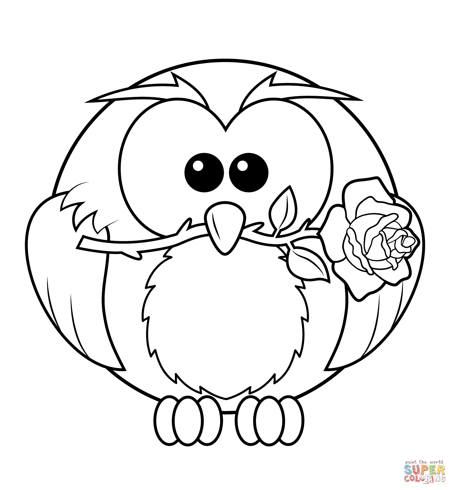 Free Rose Coloring Pages Owl With Rose Coloring Page Free Printable Coloring Pages